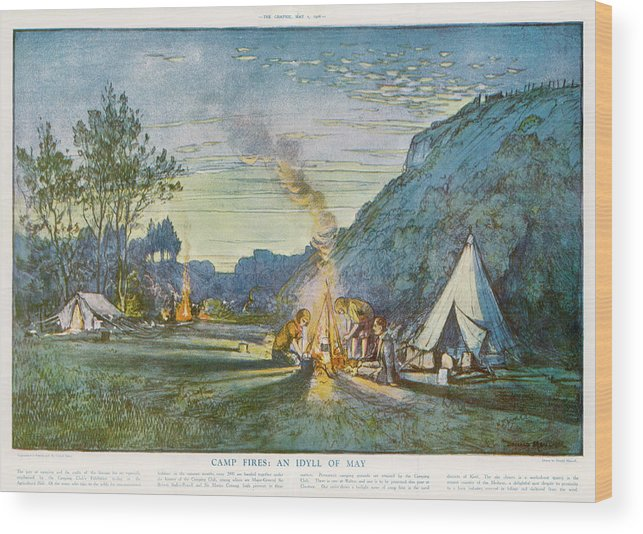 Camping Wood Print featuring the drawing Members Of A Camping Club, Having by Illustrated London News Ltd/Mar