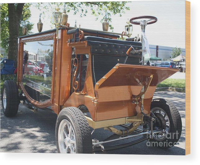 1852 Cunningham Hearse With 383 Chevy Stroker Engine Wood Print featuring the photograph 1852 Cunningham Hearse With 383 Chevy Stroker Engine by John Telfer