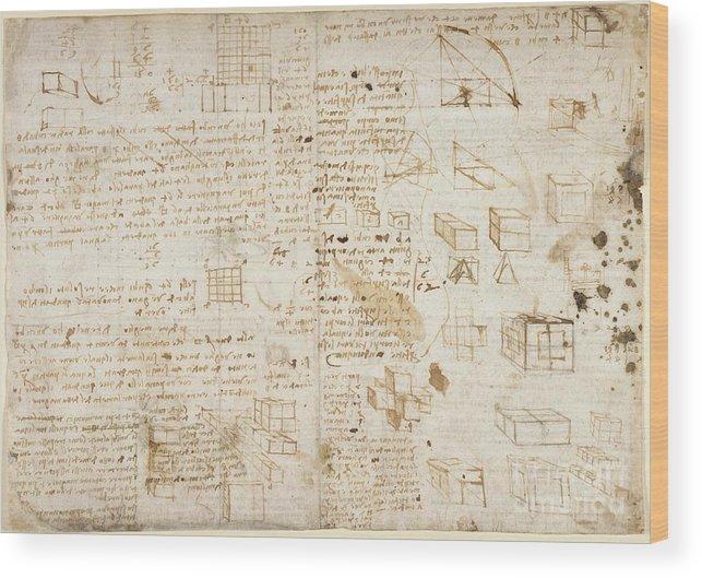 Folio Wood Print featuring the photograph Notes By Leonardo Da Vinci, Codex Arundel by British Library