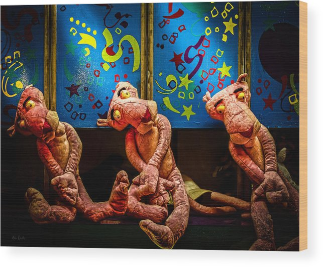 Toy Wood Print featuring the photograph 3 Wet Pink Panthers by Bob Orsillo