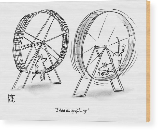 Science Problems Mice Talking  (one Lab Mouse Sitting On His Exercise Wheel Talking To Another Who Is Still Running On His.) 121413 Jkn John Kane Wood Print featuring the drawing I Had An Epiphany by John Kane