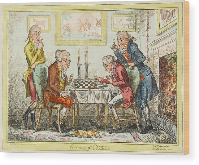 Chess Wood Print featuring the drawing A Game Of Chess - Two Wigged Gentlemen by Mary Evans Picture Library