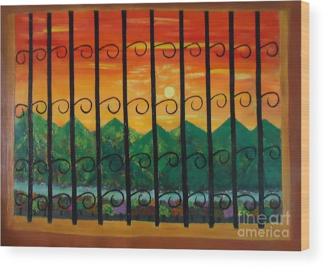 Sunrise Wood Print featuring the painting Sunrise by Jnana Finearts
