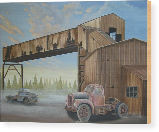 Old Truck Wood Print featuring the painting Abandoned Mine by Stuart Swartz