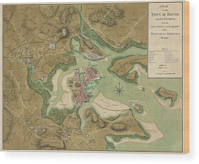 Antique Map Of Boston Massachusetts By Thomas Hyde Page Wood - Antique boston map