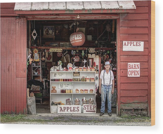 Apples Wood Print featuring the photograph Apples. The Natural Temptation - Farmer And Old Farm Signs by Gary Heller