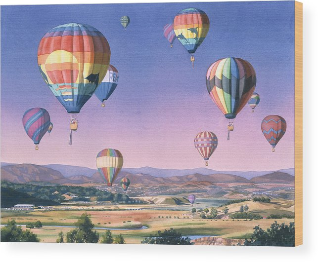 Balloons Wood Print featuring the painting Balloons Over San Dieguito by Mary Helmreich