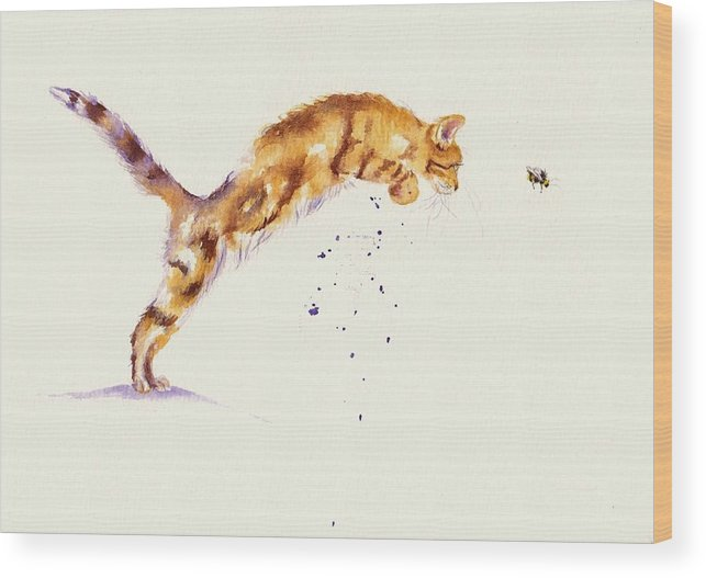 Cat Wood Print featuring the painting Bee-line by Debra Hall