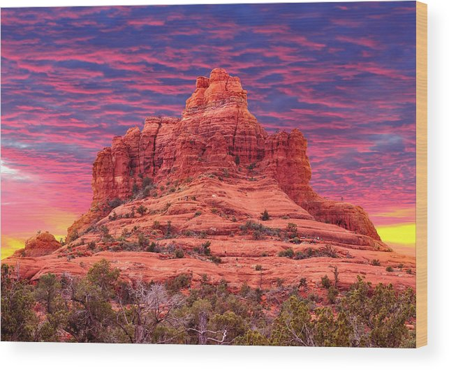Arizona Wood Print featuring the photograph Bell Rock Sunset by Edwin Verin