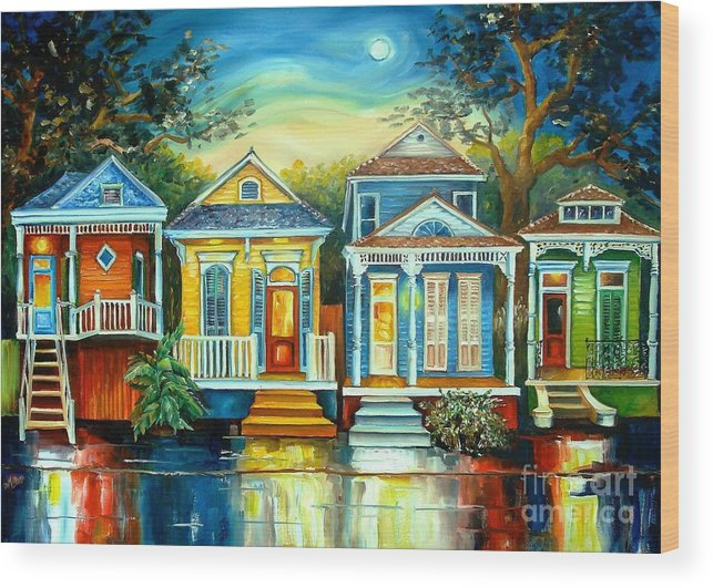 New Orleans Wood Print featuring the painting Big Easy Moon by Diane Millsap