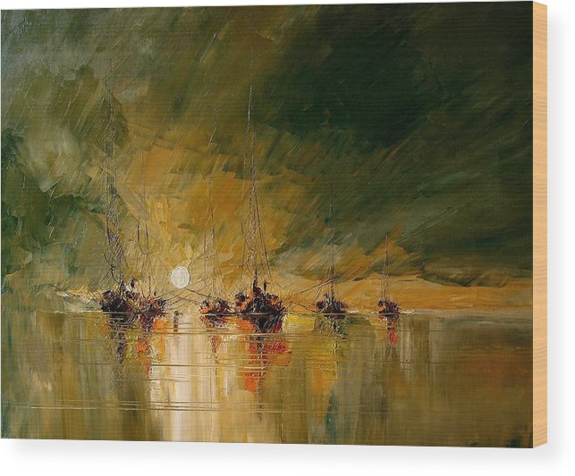 Boat Wood Print featuring the painting Boat by Tian Chen