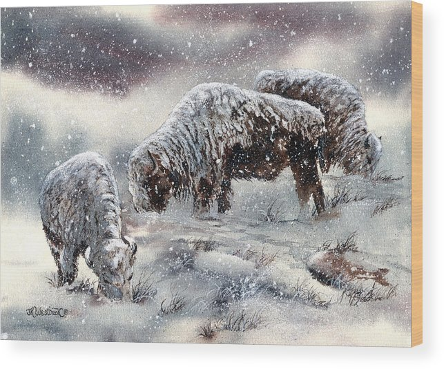 Buffalo Wood Print featuring the painting Buffalo In Snow by Jill Westbrook