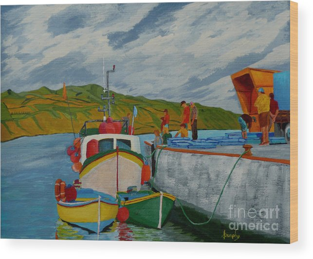 Boats Wood Print featuring the painting Catch Of The Day by Anthony Dunphy