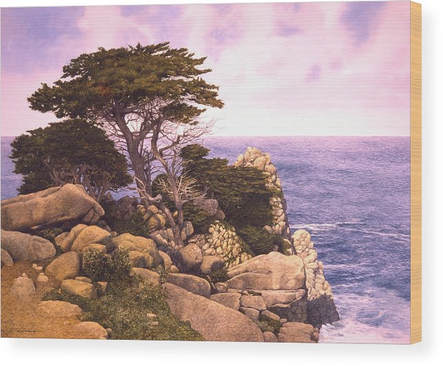 Seascape Wood Print featuring the painting Coast At Lobos by Tom Wooldridge