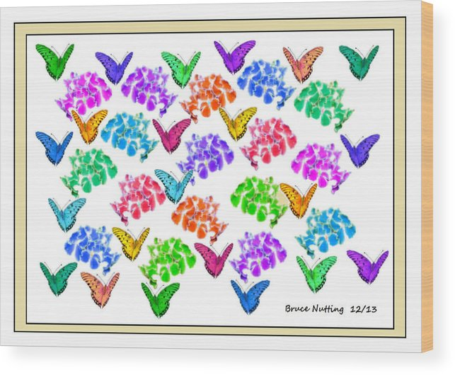Butterflies Wood Print featuring the painting Colorful Butterflies by Bruce Nutting