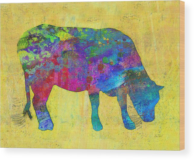 Cow Wood Print featuring the painting Colorful Cow Abstract Art by Ann Powell