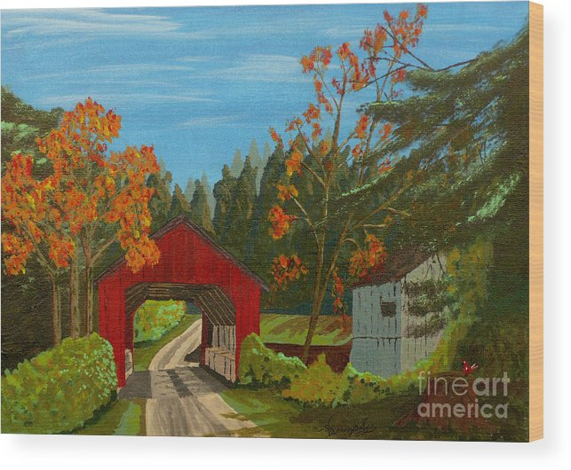 Path Wood Print featuring the painting Covered Bridge by Anthony Dunphy