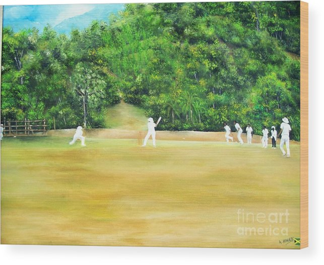 Sports Wood Print featuring the painting Cricket by Kenneth Harris