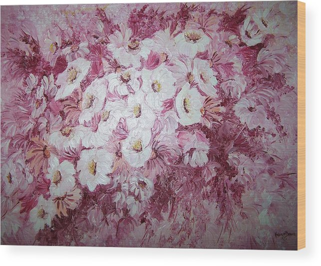 Wood Print featuring the painting Daisy Blush by Karin Dawn Kelshall- Best
