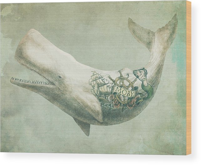 Whale Wood Print featuring the drawing Far And Wide by Eric Fan