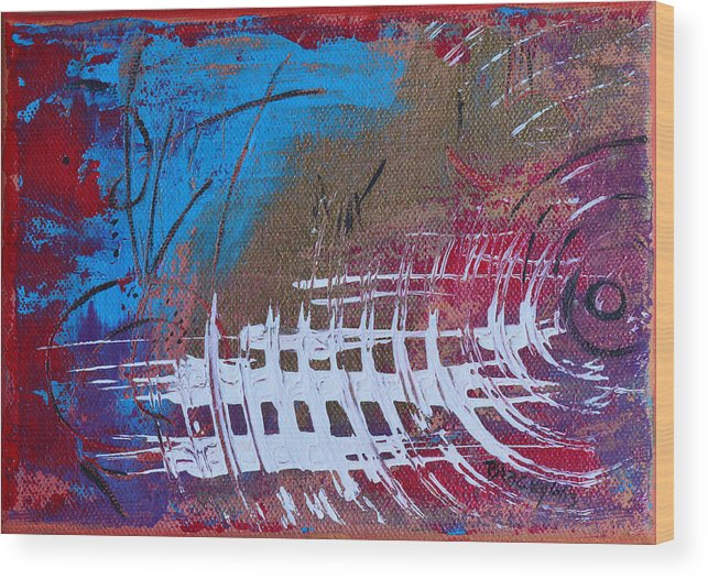 Static Wood Print featuring the painting Frequency Static by Donna Blackhall