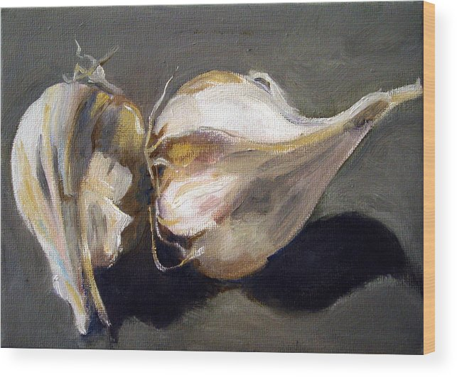 Still-life Wood Print featuring the painting Garlic by Sarah Lynch