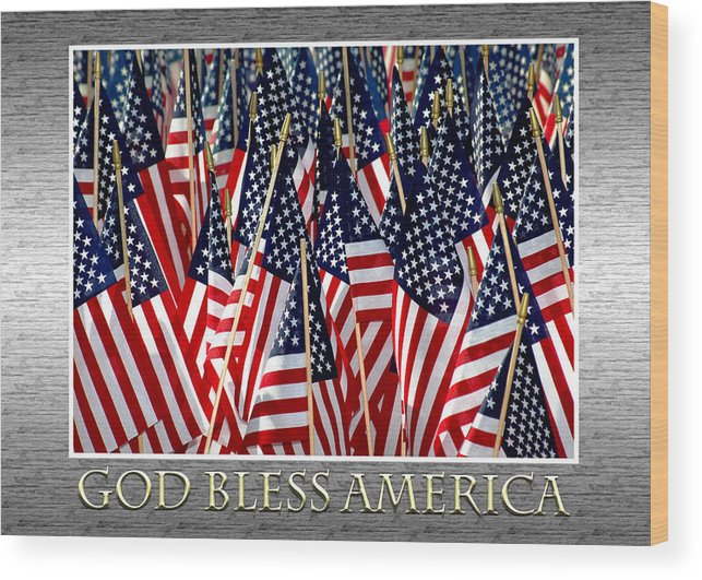 Flag Wood Print featuring the photograph God Bless America by Carolyn Marshall