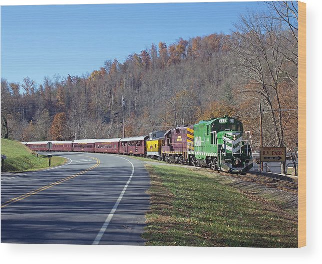 Great Smoky Mountains Railroad Wood Print featuring the photograph Great Smoky Mountains Railroad #777 4 by Joseph C Hinson Photography