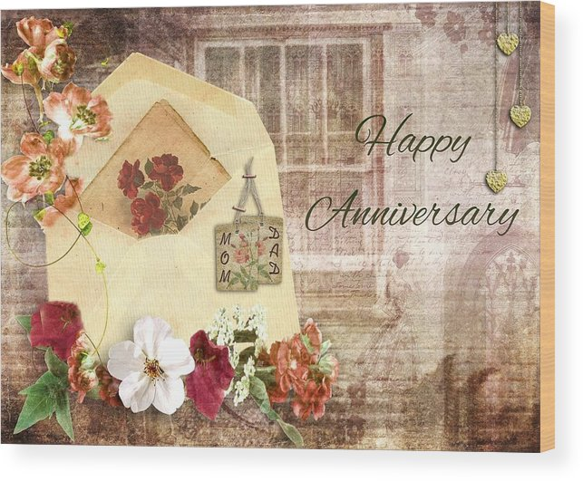 Happy anniversary mom and dad wood print by paula ayers cherish wood print featuring the mixed media happy anniversary mom and dad by paula ayers m4hsunfo