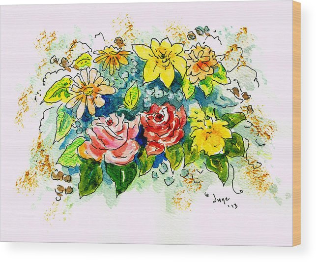 Flowers Wood Print featuring the painting Happy Day by Jacqueline Juge
