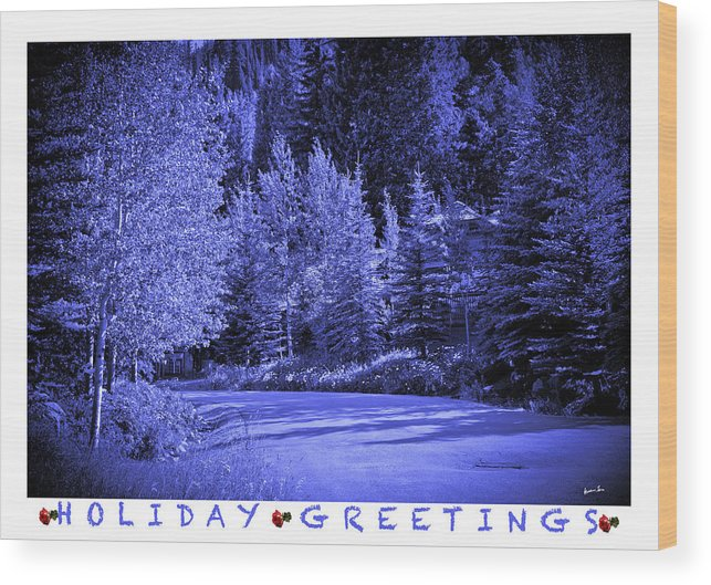 Holiday Wood Print featuring the photograph Holiday Greetings - Vail - Colorado by Madeline Ellis