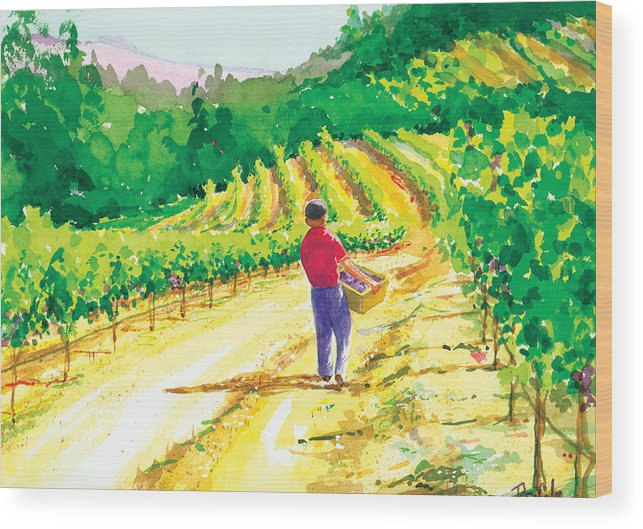 Vineyard Wood Print featuring the painting In The Vineyard by Ray Cole