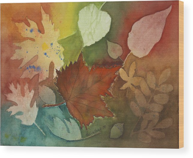 Leaves Wood Print featuring the painting Leaves Vl by Patricia Novack