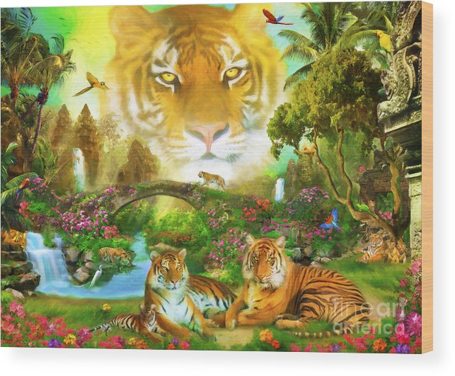 Aimee Stewart Wood Print featuring the digital art Majestic Tiger Grotto by Aimee Stewart