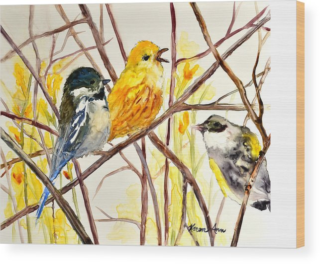 Birds Wood Print featuring the painting Morning Friends by Karen Ann