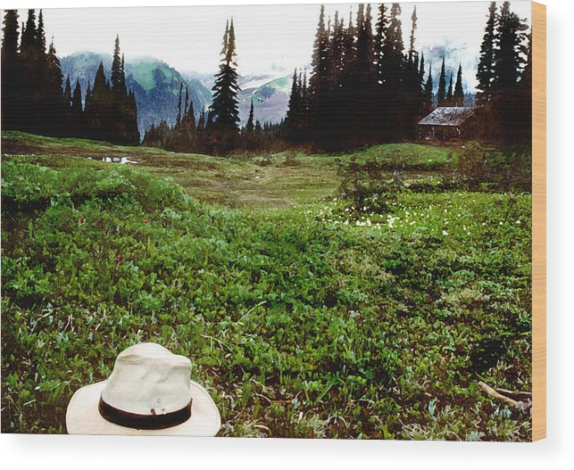 Western Wood Print featuring the photograph Mount Ranier Cabin by Steve Archbold