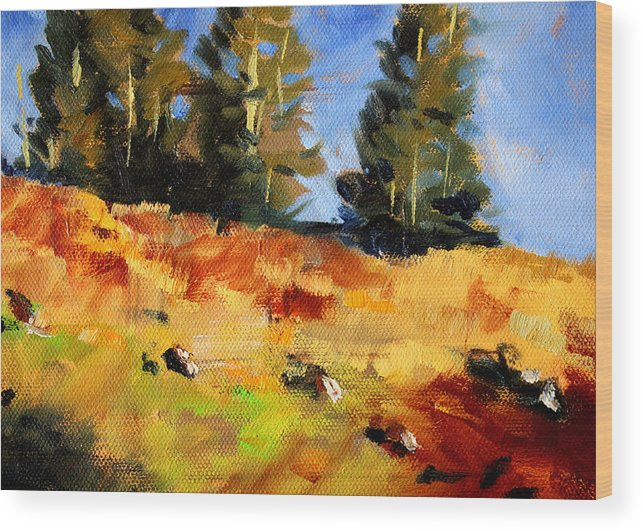Oregon Wood Print featuring the painting Mountain Hillside by Nancy Merkle