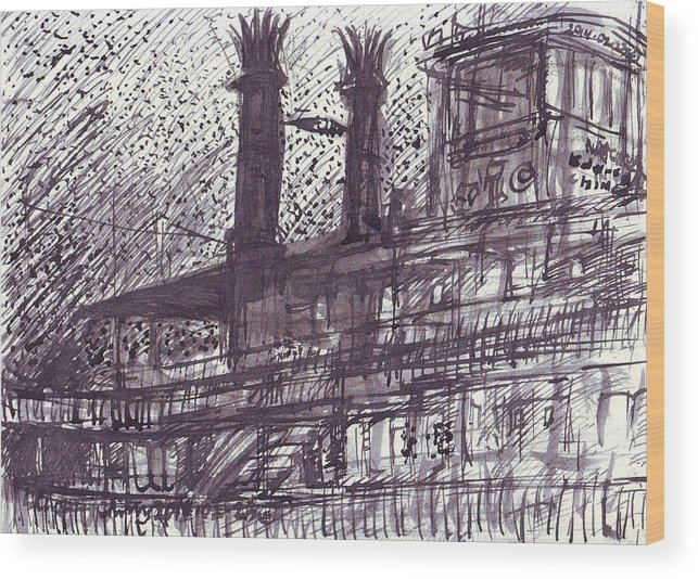 New Wood Print featuring the drawing Natchez by Edward Ching