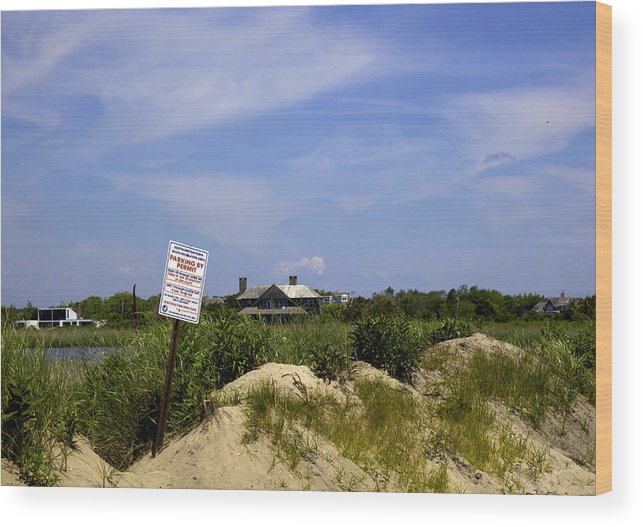 Beach Wood Print featuring the photograph Parking By Permit - Town Of Southhampton by Madeline Ellis