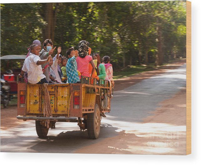 Cambodia Wood Print featuring the photograph Passengers by Rick Piper Photography
