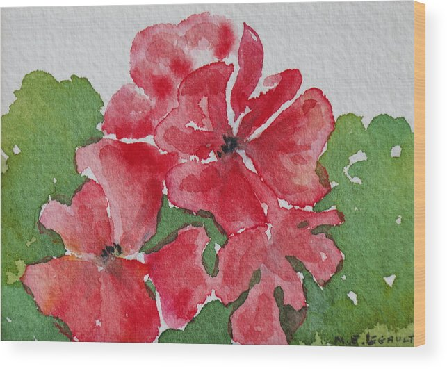 Floral Wood Print featuring the painting Pzzzazz by Mary Ellen Mueller Legault