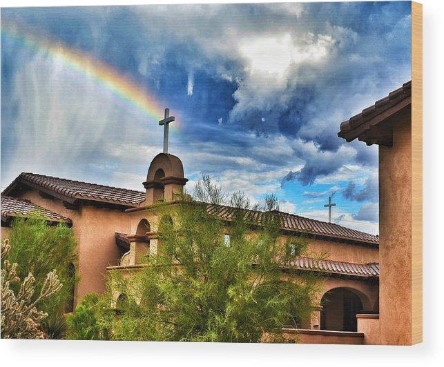 Rainbow Wood Print featuring the photograph Rainbow Cross Church by Debbie Yuhas