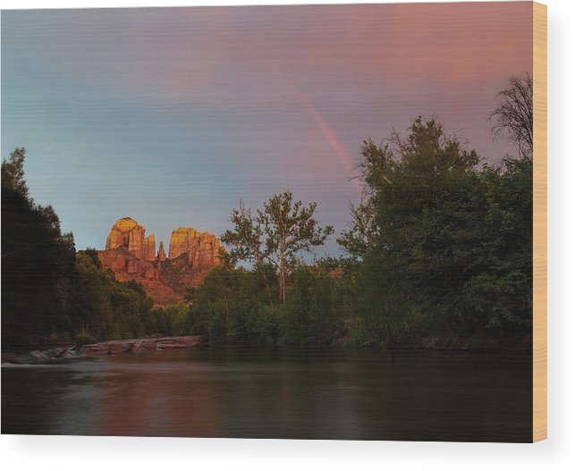 2014 Wood Print featuring the photograph Rainbow Over Cathedral Rocks by Larry Pollock
