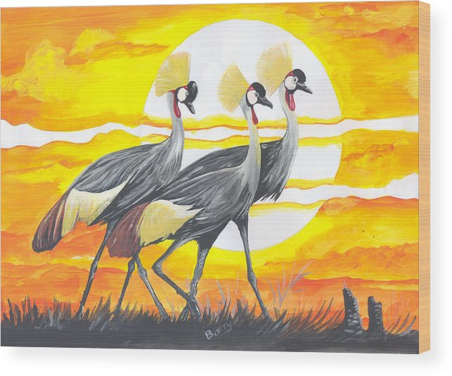 Animals Wood Print featuring the painting Royal Cranes From Rwanda by Emmanuel Baliyanga
