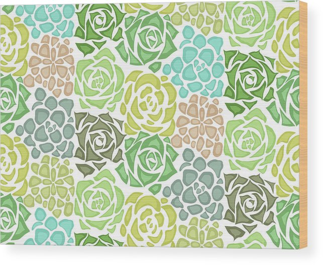 Art Wood Print featuring the digital art Seamless Texture With Flat Succulents by Veleri