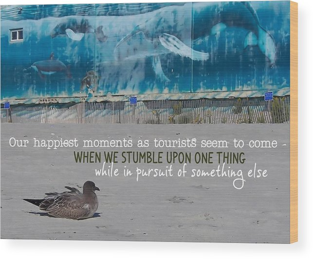 Seaside Wood Print featuring the photograph Seaside Art Gallery Quote by JAMART Photography