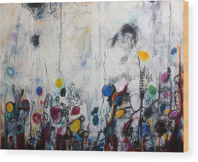 Abstract Wood Print featuring the painting She Grows Lemons For Her Baby by Mary C Farrenkopf