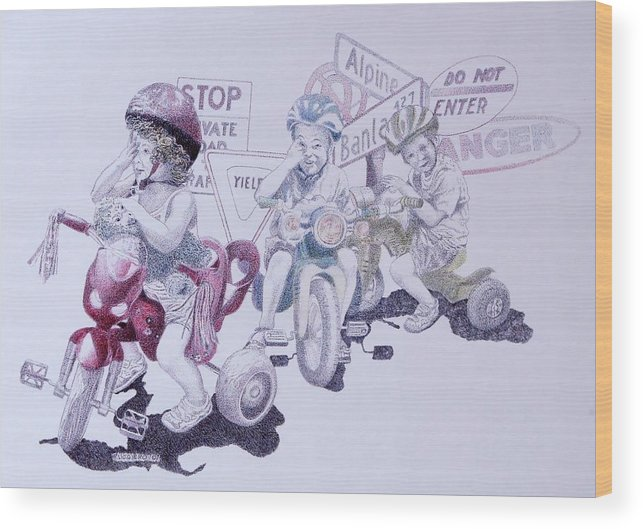 Children Bicycles Kids Portraits Wood Print featuring the painting Signsofconfusion by Tony Ruggiero