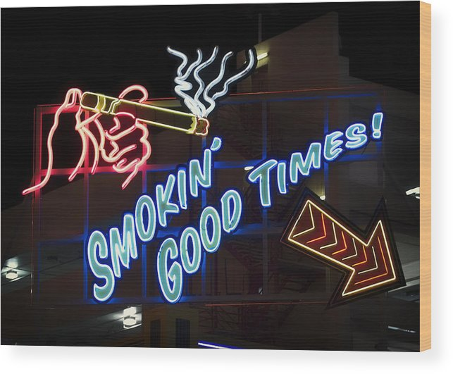 Las Vegas Wood Print featuring the photograph Smokin Good Times In Las Vegas by Mountain Dreams