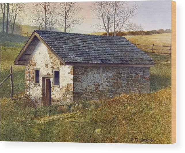 Landscape Wood Print featuring the painting Springhouse by Tom Wooldridge